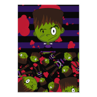 Frankensteins Monster Patterned RSVP Card 9 Cm X 13 Cm Invitation Card