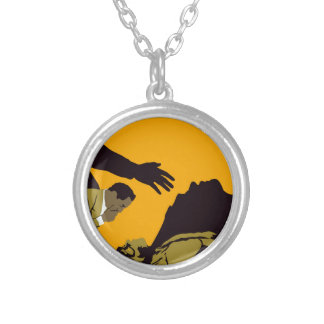 frankenstien silver plated necklace