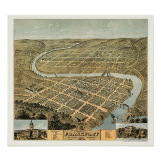 Frankfort, KY Panoramic Map - 1871 Poster