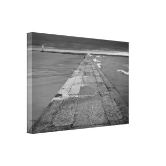 Frankfort Michigan Pier Black and White Gallery Wrap Canvas