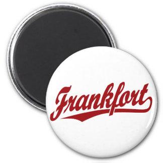 Frankfort script logo in red magnet