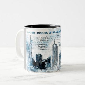Frankfurt, architecture - Popart illustration Two-Tone Coffee Mug