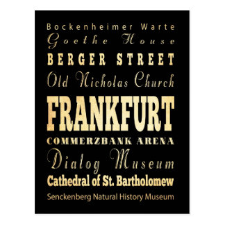 Frankfurt City of Germany Typography Art Postcard