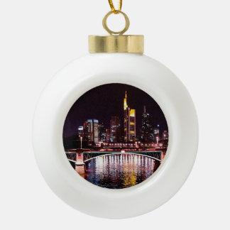 Frankfurt Cityscape at Night Ceramic Ball Christmas Ornament