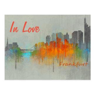 Frankfurt Germany City Watercolor Skyline In Love Postcard