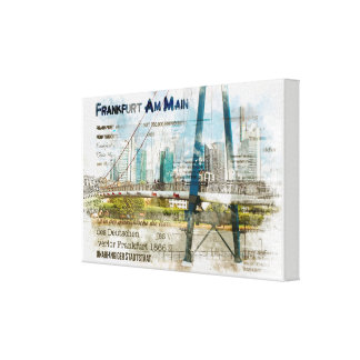 Frankfurt panorama. Skyscrapers, iron bar Canvas Print