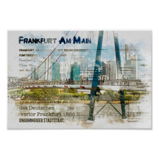 Frankfurt panorama. Skyscrapers, iron bar Poster