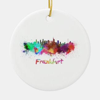 Frankfurt skyline in watercolor ceramic ornament