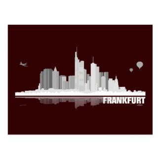 Frankfurt town center of skyline postcard