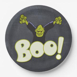 Frankie Monster Frankenstein Halloween Black Chalk Paper Plate