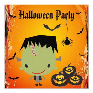 Frankie, Pumpkins, Bats & Spider Halloween Party Card