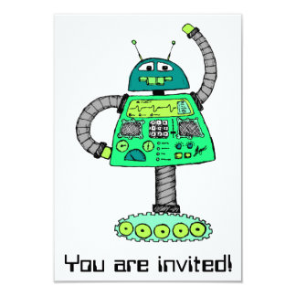 Frankie robot, green on white card