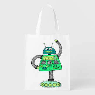 Frankie robot, green on white reusable grocery bag