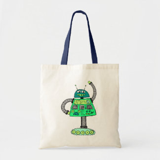 Frankie robot, green on white tote bag