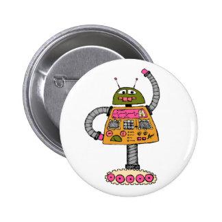 Frankie robot, orange on white 6 cm round badge