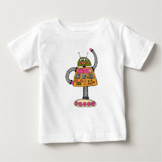 Frankie robot, orange on white baby T-Shirt