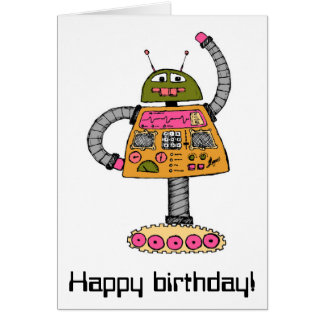 Frankie robot, orange on white card
