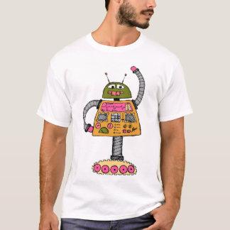 Frankie robot, orange on white T-Shirt