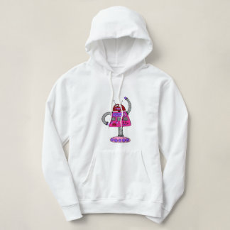 Frankie Robot: Pink on white Hoodie