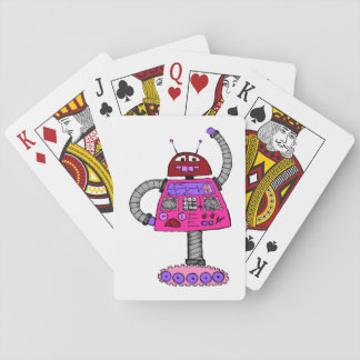 Frankie Robot: Pink on white Playing Cards