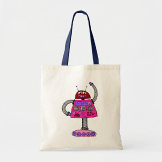 Frankie Robot: Pink on white Tote Bag