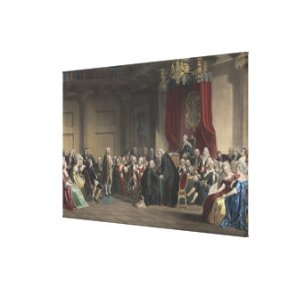 Franklin before the lords council Whitehall Chapel Canvas Print