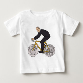 Franklin D Roosevelt Riding Bike With Dime Wheels Baby T-Shirt