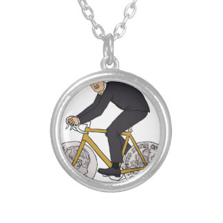 Franklin D Roosevelt Riding Bike With Dime Wheels Silver Plated Necklace