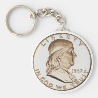 Franklin Half Dollar Basic Round Button Key Ring