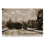 Franklin Indiana Streetcar Station circa 1912 Print
