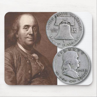 Franklin Portrait with Half Dollars Mouse Pad
