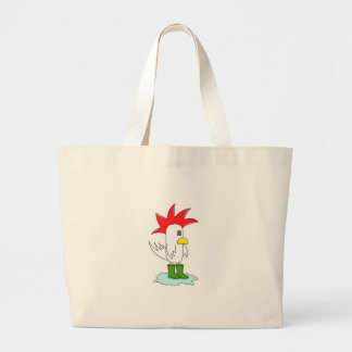 FranktheChickenwellybootsoutline Large Tote Bag