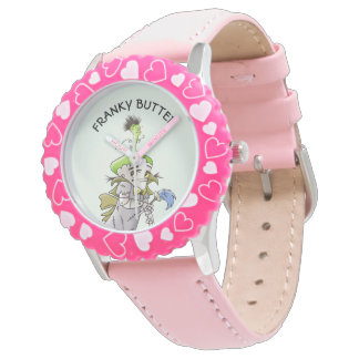 FRANKY BUTTER ALIEN CARTOON Bezel with Pink Number Watch