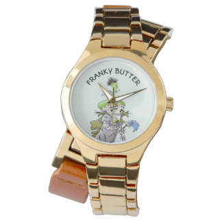 FRANKY BUTTER ALIEN CARTOON Gold Wrap-Around Watch