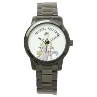 FRANKY BUTTER ALIEN CARTOON Oversized Black Bracel Watch