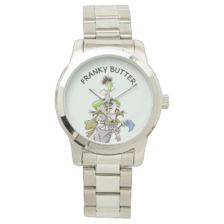 FRANKY BUTTER ALIEN CARTOON Oversized Silver Brace Watch
