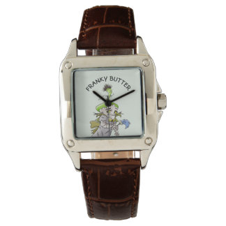FRANKY BUTTER ALIEN CARTOON Perfect Square Brown L Watch