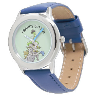 FRANKY BUTTER ALIEN CARTOON Stainless Steel Blue Watch