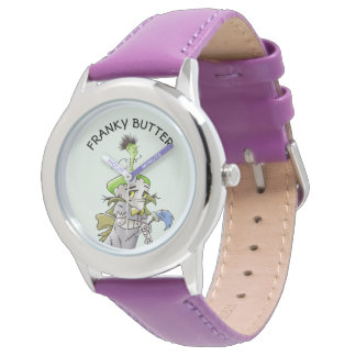 FRANKY BUTTER ALIEN CARTOON Stainless Steel Purple Watch