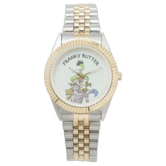 FRANKY BUTTER ALIEN CARTOON Two-Tone Bracelet Watch