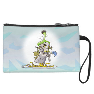 FRANKY BUTTER ALIEN  Sueded Mini Clutch bag