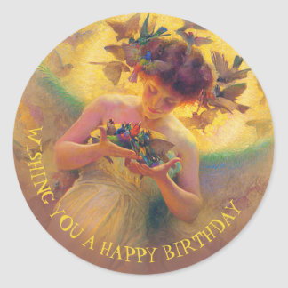 Franz Dvorak Angel of the birds CC0030 Birthday Classic Round Sticker