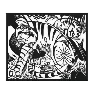 Franz Marc - Black and White Tiger Stretched Canvas Print