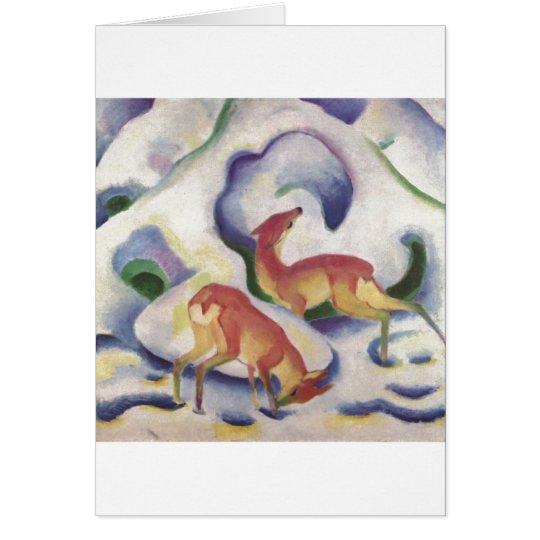 Franz Marc - Deer in Snow 1911 Canvas Fawn Doe Card