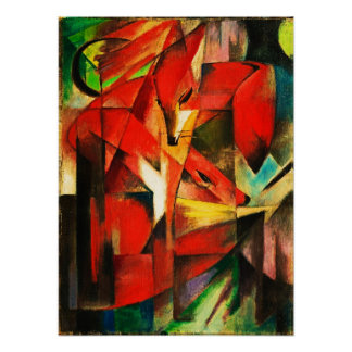 Franz Marc The Foxes Red Fox Modern Art Painting Poster