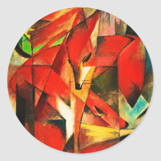 Franz Marc The Foxes Red Fox Modern Art Painting Round Sticker