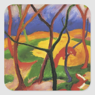 Franz Marc- Weasels Playing Square Sticker