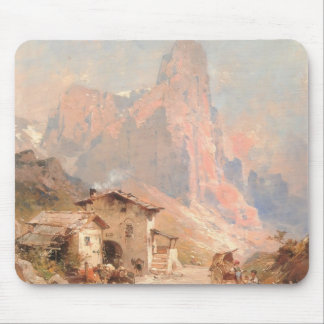 Franz Unterberger:Figures in a Village,Dolomites Mouse Pad