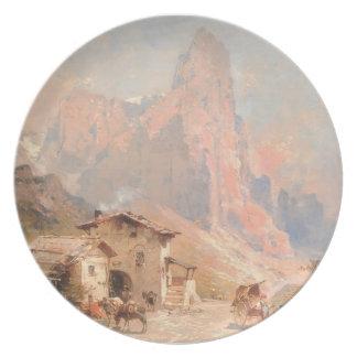 Franz Unterberger:Figures in a Village,Dolomites Dinner Plates