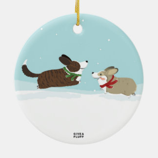 Frapping in the Snow Ceramic Ornament